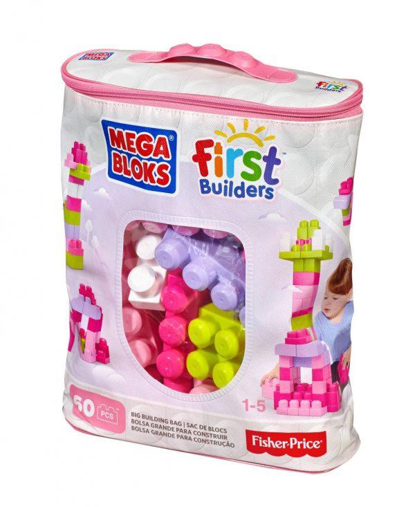 MEGA BLOKS FIRST BUILDERS BIG BUILDING BAG 60pcs PINK (DCH54)