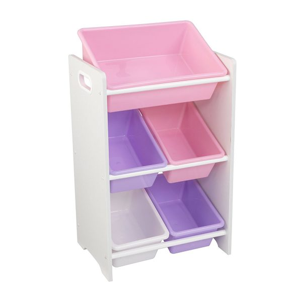 KidKraft 5 Bin Storage Unit - Pastel & White 15473