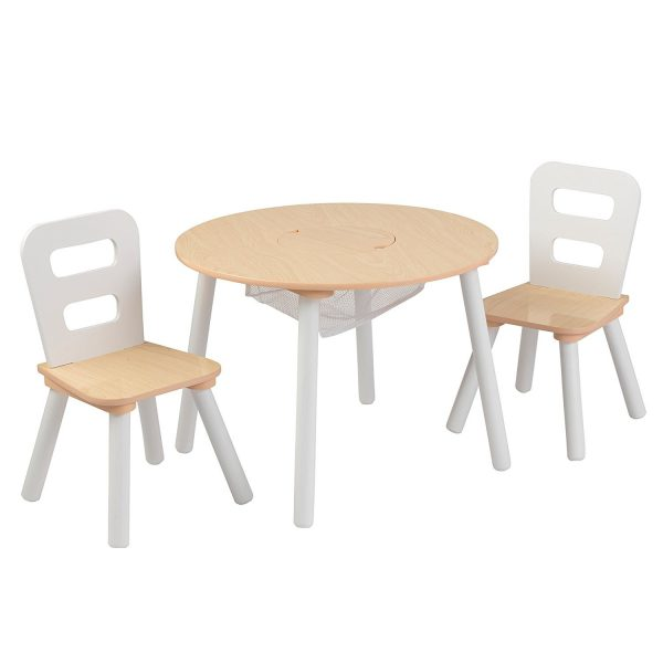 KidKraft Round Storage Table & 2 Chair Set - Natural & White 27027