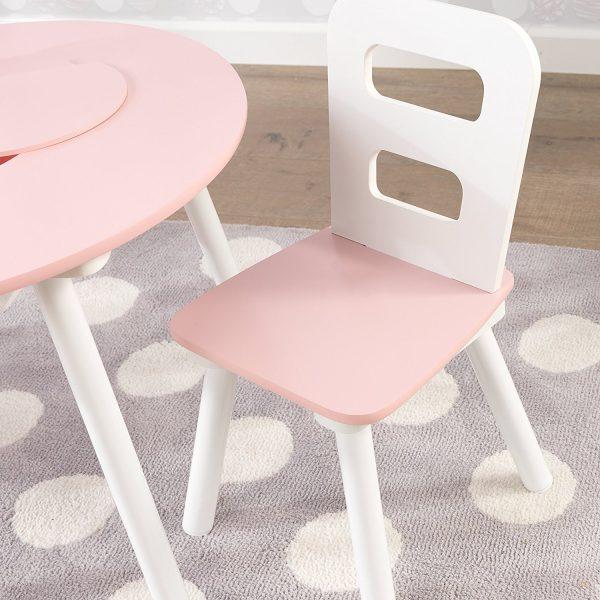 KidKraft Round Storage Table & 2 Chair Set - Pink & White 26165